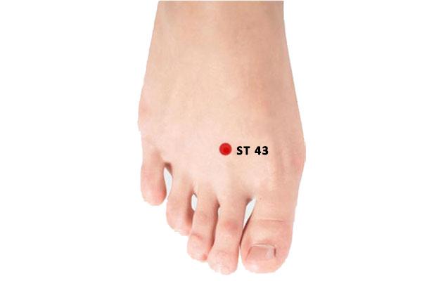 ST43 acupuncture point xiangu